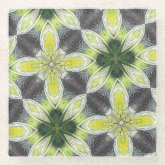 yellow cool abstract pattern glass coaster
