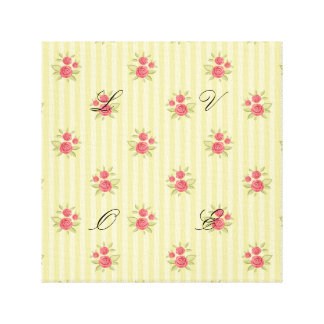 yellow,coral floral,shabby chic,stripes,victorian, canvas print