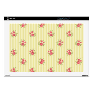 yellow,coral floral,shabby chic,stripes,victorian, laptop skins