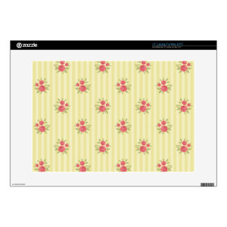 """yellow,coral floral,shabby chic,stripes,victorian, decal for 15"""" laptop"""