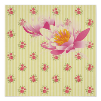 yellow,coral floral,shabby chic,stripes,victorian, perfect poster