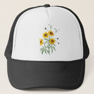 Yellow Coreopsis Elegans by Pierre Joseph Redoute Trucker Hat