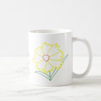 Yellow Coreopsis Flower Love Mom Mugs