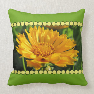 Yellow Coreopsis Flower with Bead Border Pillow