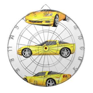 Yellow Corvette: Dartboard With Darts