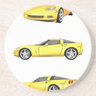 Yellow Corvette: Drink Coaster