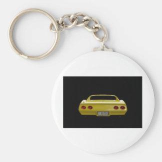 Yellow Corvette Basic Round Button Keychain
