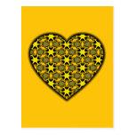 Yellow Cosmic Burst Heart Post Cards