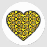 Yellow Cosmic Burst Heart Sticker