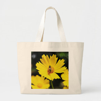 Yellow Cosmos Flower and Bee Tote Bag