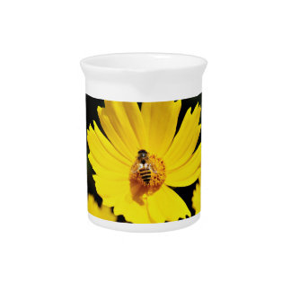 Yellow Cosmos Flower and Bee Beverage Pitcher
