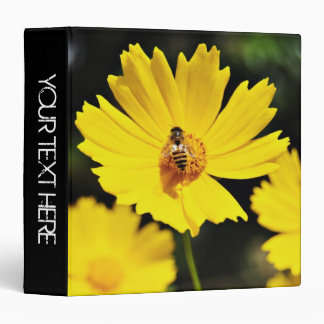Yellow Cosmos Flower and Bee Binder