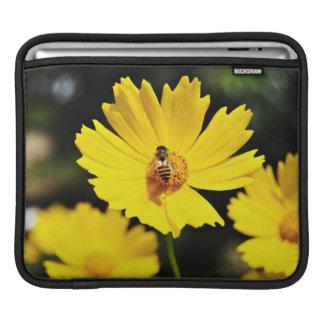 Yellow Cosmos Flower and Bee iPad Sleeve