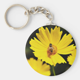 Yellow Cosmos Flower and Bee Keychain