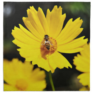 Yellow Cosmos Flower and Bee Napkin
