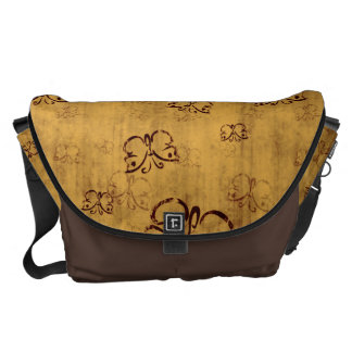 Yellow Country Butterfly Pattern Courier Bag