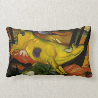 yellow cow lumbar pillow