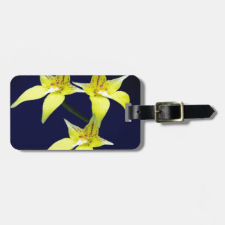 Yellow Cowslip Australian Orchid Flower Luggage Tag