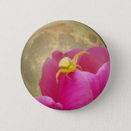 Yellow Crab Spider on Tulip Moon Background Pinback Button