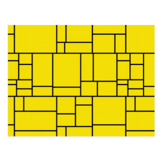 Yellow Crackled Art Postcard