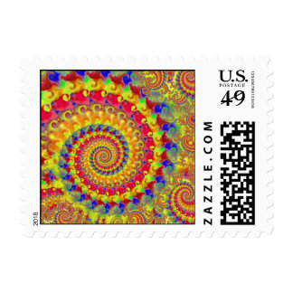 Yellow Crazy Fractal Postage