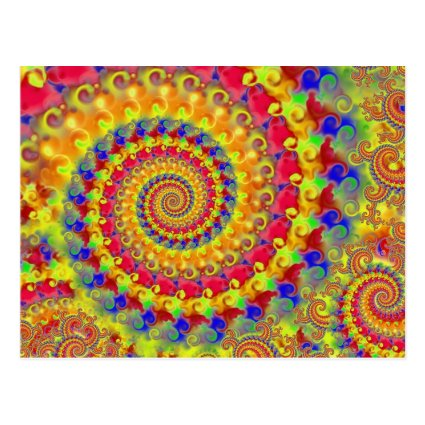 Yellow Crazy Fractal Postcards