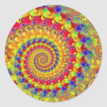 Yellow Crazy Fractal Round Sticker