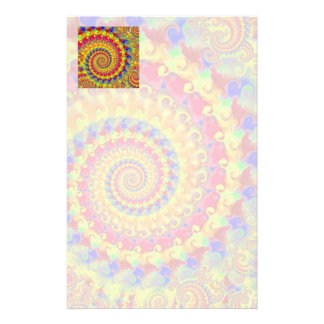 Yellow Crazy Fractal Stationery