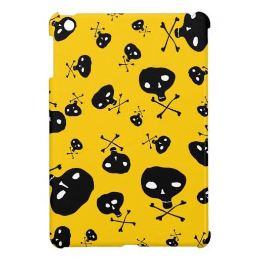Yellow Crazy Skulls Pattern Cover For The iPad Mini