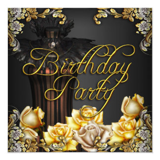 Yellow Cream Roses Gold Black Birthday Party 5.25x5.25 Square Paper Invitation Card