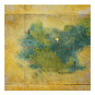 Yellow Creased Blue Green Newspaper Grunge Poster