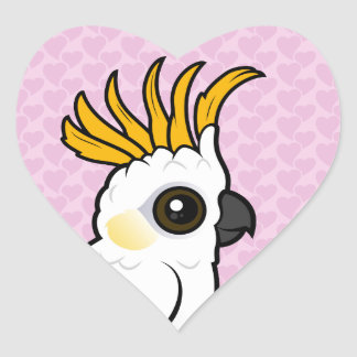 Yellow-crested Cockatoo (crest up) Heart Sticker