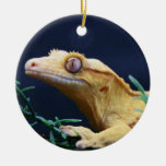 Yellow Crested Gecko Resting Christmas Ornaments