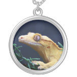 Yellow Crested Gecko Resting Pendants