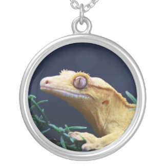 Yellow Crested Gecko Resting Silver Plated Necklace