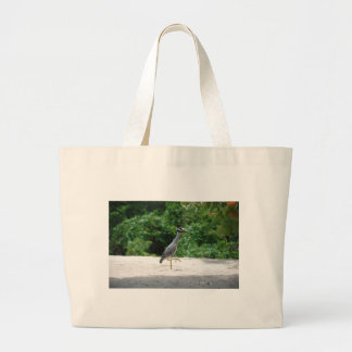 Yellow-crested night heron large tote bag