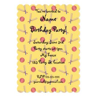 yellow cricket pattern 5x7 paper invitation card