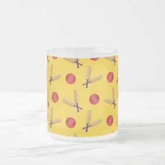yellow cricket pattern 10 oz frosted glass coffee mug