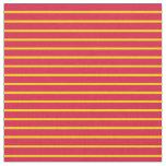 [ Thumbnail: Yellow & Crimson Lined/Striped Pattern Fabric ]