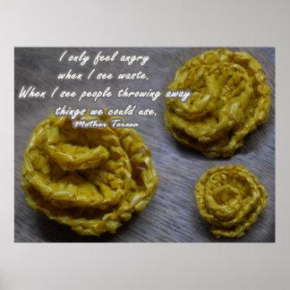 Yellow Crochet Rose Poster