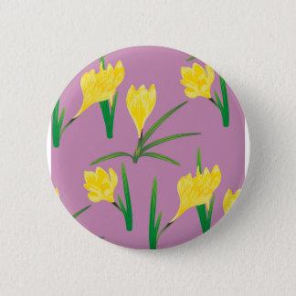 Yellow Crocus Flowers Pinback Button