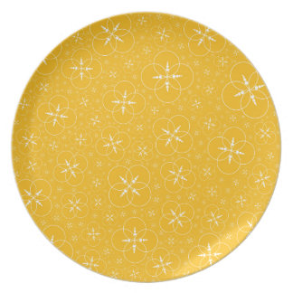 Yellow Crop Circles Melamine Plate