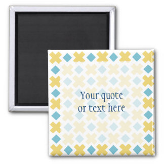 Yellow Cross Blue Diamond Pattern Kitchen Gifts 2 Inch Square Magnet