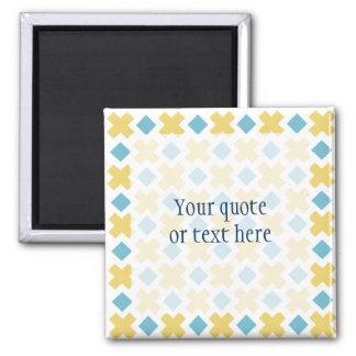 Yellow Cross Blue Diamond Pattern Kitchen Gifts Magnet