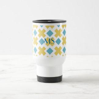 Yellow Cross Blue Diamond Pattern Kitchen Gifts 15 Oz Stainless Steel Travel Mug