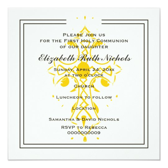 Yellow Cross First Communion Confirmation Card