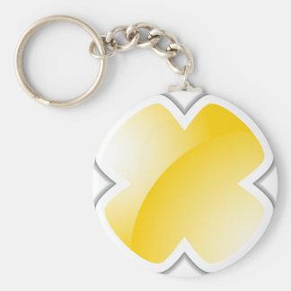 Yellow Cross Mark Shiny Icon Badge Basic Round Button Keychain