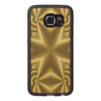 Yellow cross pattern wood phone case