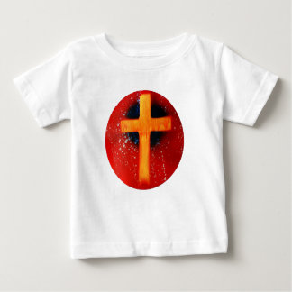 Yellow cross red back religious spraypainting baby T-Shirt