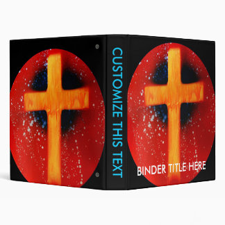 Yellow cross red back religious spraypainting 3 ring binder